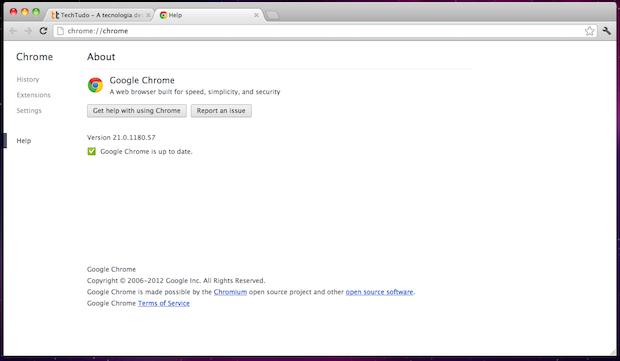 Chrome é atualizado para a versão 21 (Foto: Reprodução/TechTudo)