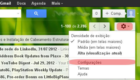 Configurações do Gmail (Foto: reprodução/Flávio Renato)