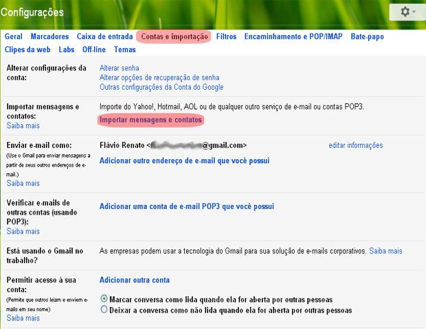 Aba Contas e Importação do Gmail (Foto: reprodução / Flávio Renato)