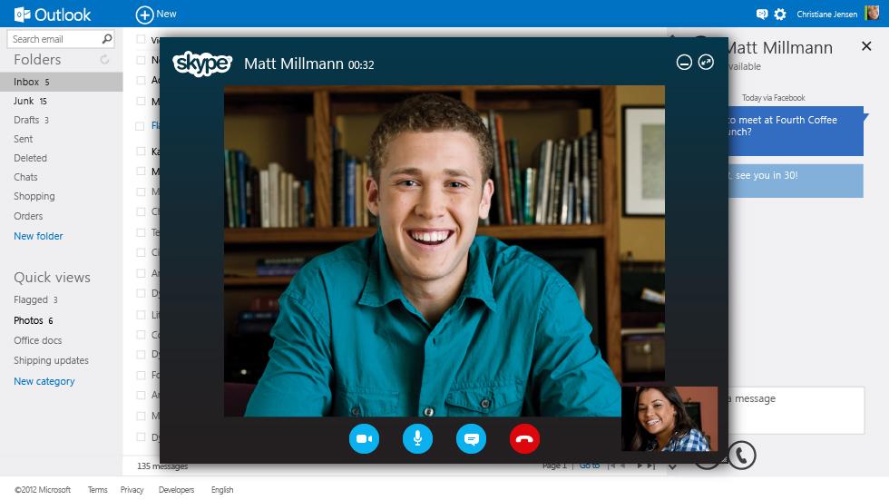 Skype será integrado ao portal Outloook.com (Foto: Reprodução/Microsoft)