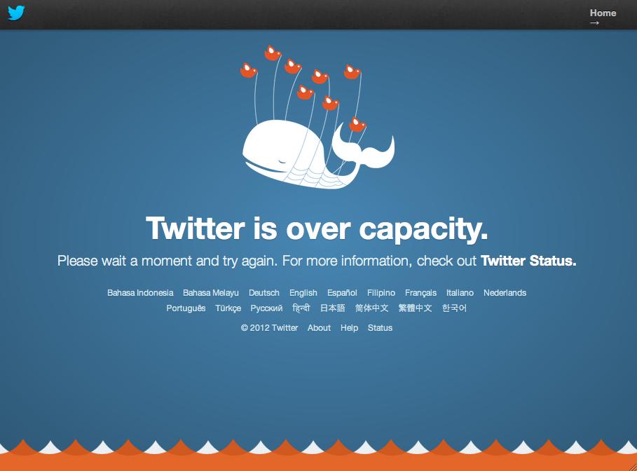 """Nova página da """"fail whale"""" do Twitter - a famosa baleia que aparece quando o serviço está falhando (Foto: Reprodução/Twitter)"""