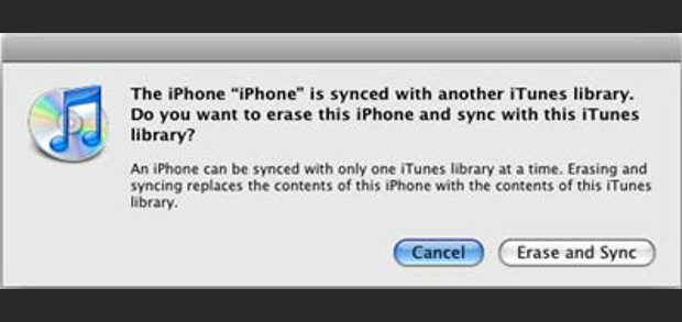 Aviso de sincronização do iTunes (Foto: Reprodução)