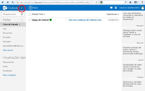 """Clicando na seta ao lado do nome """"Outlook"""" (Foto: Reprodução/Edivaldo Brito)"""