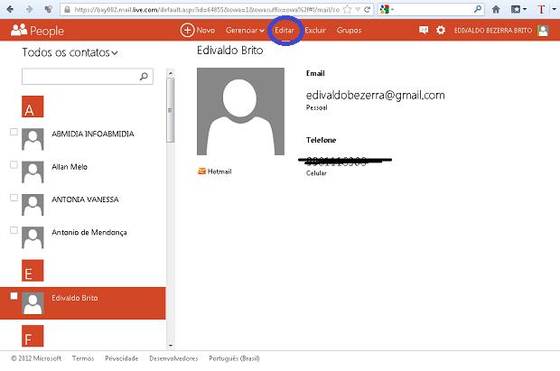 """Clicando em """"Editar"""" para modificar o contato escolhido (Foto: Reprodução/Edivaldo Brito)"""
