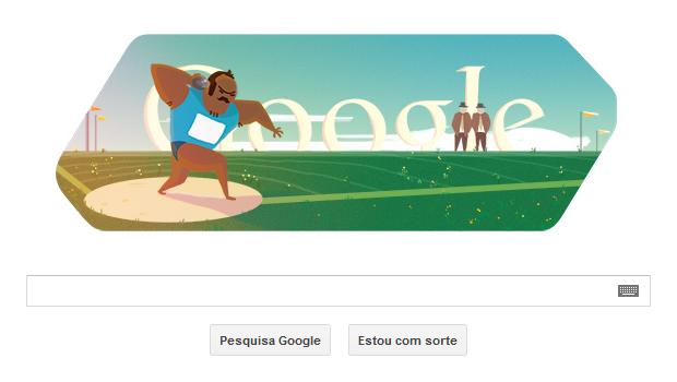 Arremesso de peso é tema de Doodle em homenagem às Olimpíadas de Londres (Foto: Reprodução/Google)