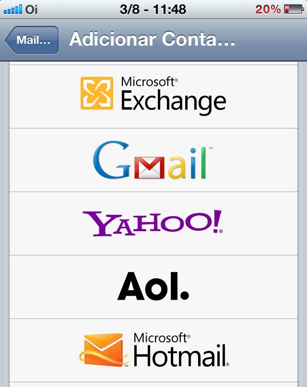 """Escolhendo a opção """"Microsoft Hotmail"""" (Foto: Reprodução/Edivaldo Brito)"""
