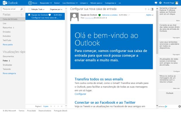 Painel de visualização de mensagens do Outlook.com (Foto: Reprodução/Ricardo Fraga) (Foto: Painel de visualização de mensagens do Outlook.com (Foto: Reprodução/Ricardo Fraga))