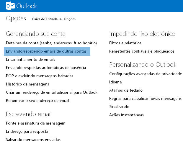 Gerenciamento do Outlook.com (Foto: reproduo / Flvio Renato)