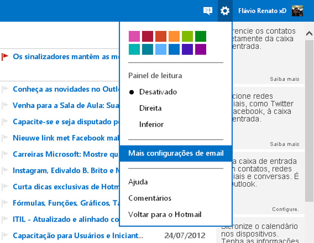 Configuraes do Outlook.com (Foto: reproduo/Flvio Renato)