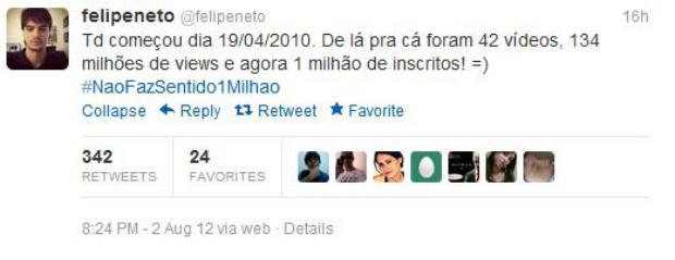 Pelo Twitter, Felipe vibra com a marca histórica do canal (Foto: Reprodução)