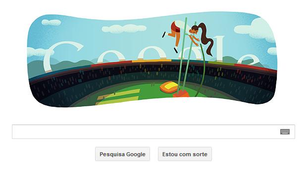 Salto em altura é tema de Doodle em homenagem às Olimpíadas de Londres (Foto: Reprodução/Google)