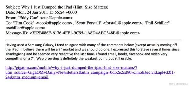 Imagem do e-mail utilizada como prova no processo da Samsung contra Apple (Foto: Reprodução) (Foto: Imagem do e-mail utilizada como prova no processo da Samsung contra Apple (Foto: Reprodução))