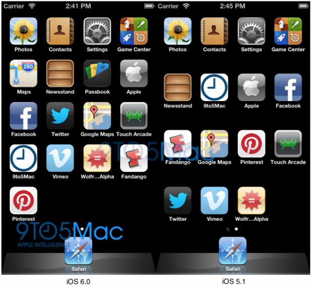 Comparação entre menus mostra que iOS 6 está pronto para tela maior (Foto: 9To5Mac)