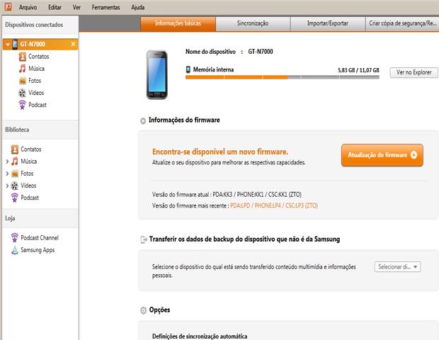 Samsung Kies (Foto: reprodução / Flávio Renato) (Foto: Samsung Kies (Foto: reprodução / Flávio Renato))