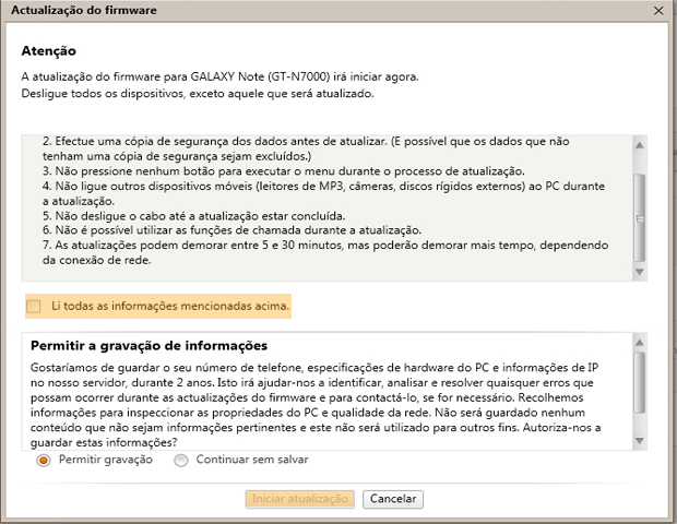 Janela de atualização de firmware (Foto: reprodução / Flávio Renato) (Foto: Janela de atualização de firmware (Foto: reprodução / Flávio Renato))