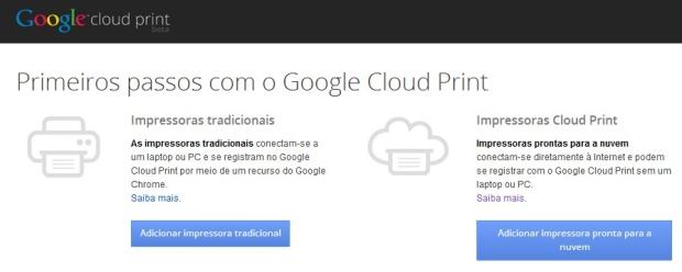 Adicionar impressoras Cloud Print