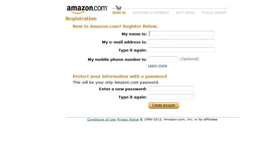 Dados Cadastro Amazon (Foto: Reprodução)