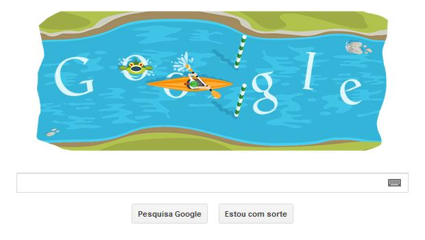 Canoagem slalom é tema de Doodle interativo em homenagem às Olimpíadas de Londres (Foto: Reprodução/Google)