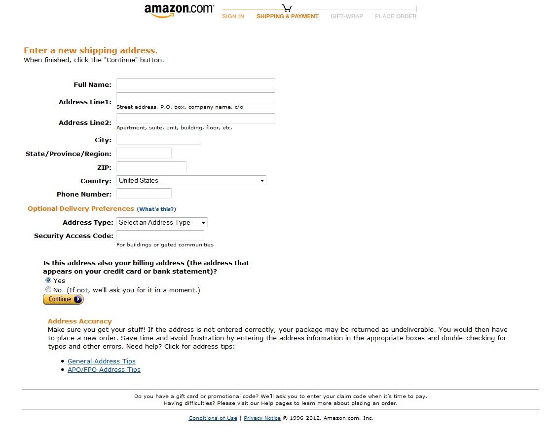 Endereço Amazon Cadastro (Foto: Reprodução)