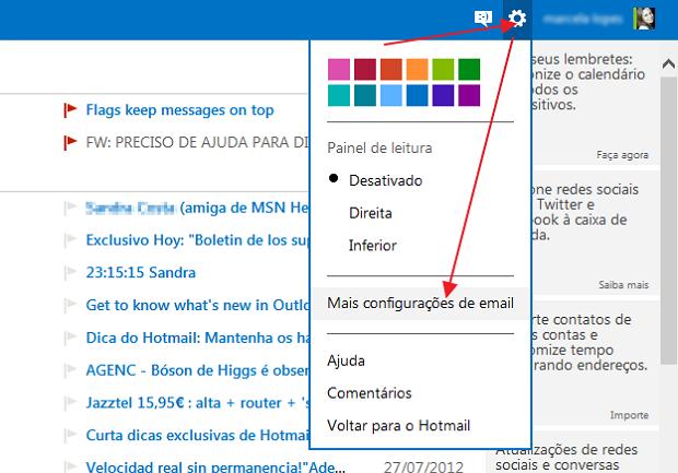 Opção de configuração de e-mail no Outlook.com (Foto: Reprodução/Marcela Vaz)
