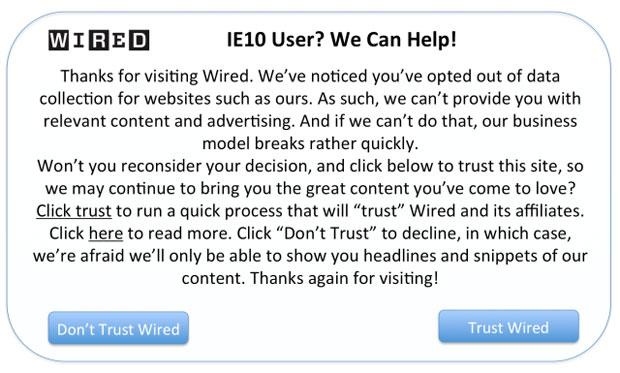 Visitar o site da Wired com o IE 10 causa o aviso que pede ao usuário para confiar no site e aceitar o modelo de negócios baseado em publicidade (Foto: Reprodução)