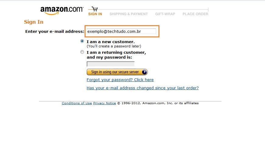 Login Amazon Exemplo (Foto: Reprodução)