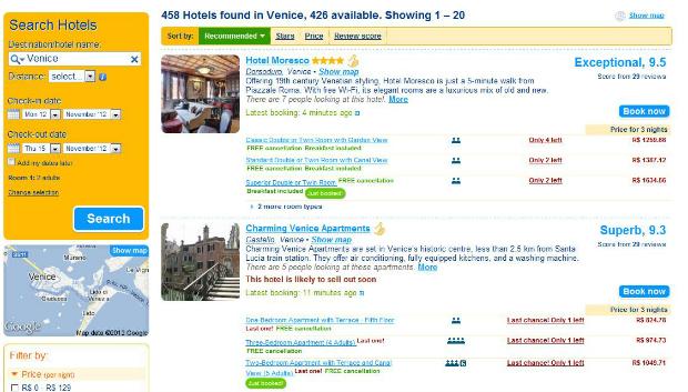 Booking reúne diversos hotéis pelo mundo com opção de cancelar a reserva gratuitamente (Foto: Reprodução)