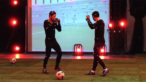 Jay Demerit e Alain Rochat brincando com a captura de movimentos (Foto: Divulgação)