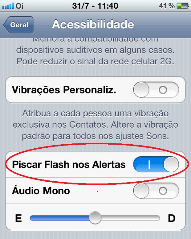 """Ativando a opção """"Piscar Flash nos alertas""""  (Foto: Reprodução/Edivaldo Brito)"""