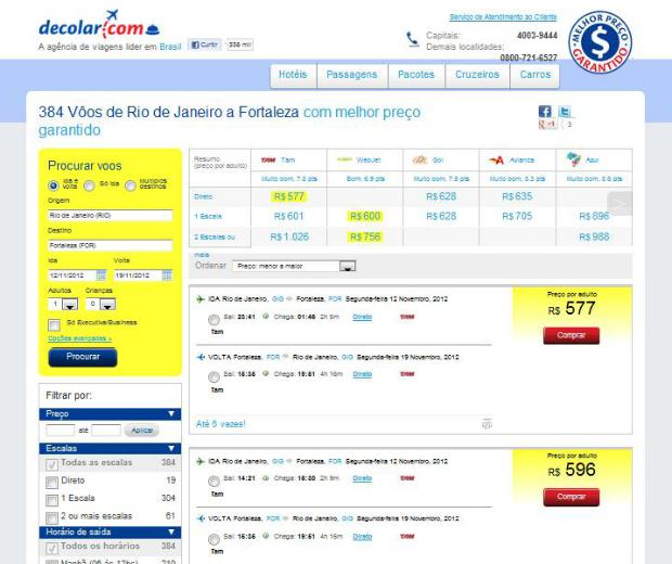 Site decolar.com oferece ofertas de voos, hospedagens, pacotes, cruzeiros e aluguel de carros (Foto: Reprodução)