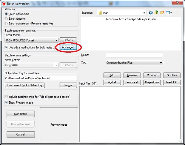 """Marcando a opção """"Use advanced options (for bulk resize...)  (Foto: Reprodução/Edivaldo Brito)"""