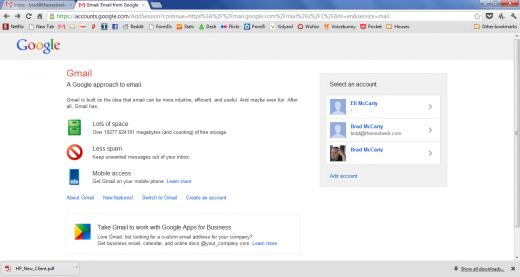 Nova tela de login do Gmail com opção para logins múltiplos (Foto: Reprodução)