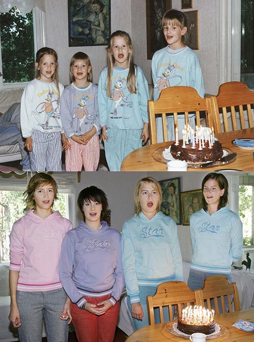 Foto de aniversário recriada nos mínimos detalhes, desde o bolo até a cor das roupas (Foto: Reprodução)