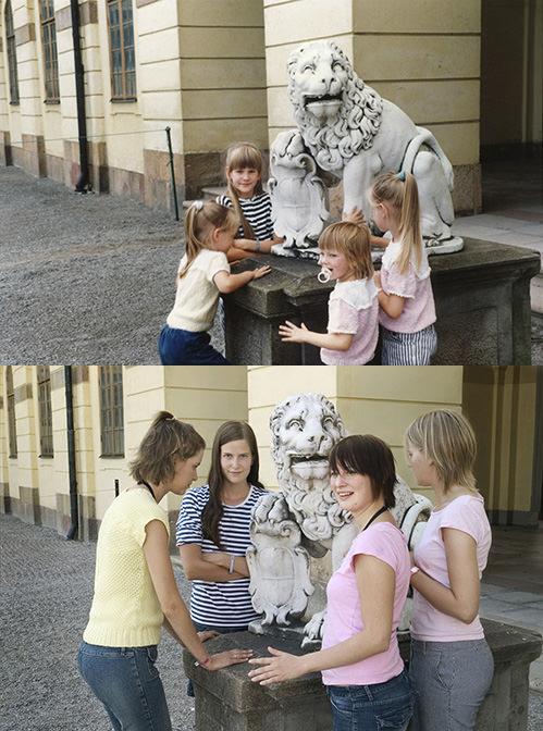 As irmãs recriando a foto com a estátua décadas depois (Foto: Reprodução)