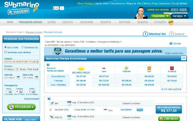Site do Submarino viagens é mais uma opção para pesquisa de hotel e passagens aéreas (Foto: Reprodução)