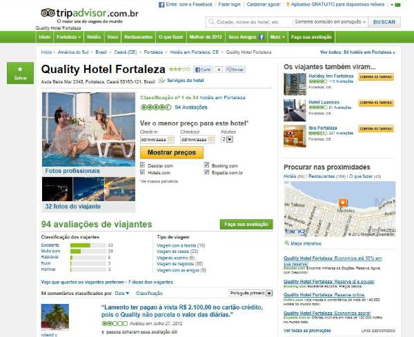 No Tripadvisor, o usuário pode ler comentários e avaliações do destino que procura (Foto: Reprodução)