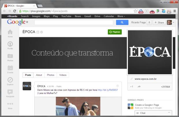 Página da Revista Época no Google+ já conta com a URL personalizada (Foto: Reprodução/Ricardo Fraga)