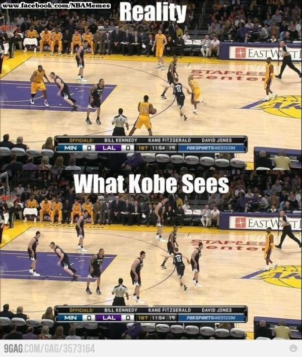 O que todos veem e o que Kobe vê: ironia ao estilo individualista do jogador (Foto: Reprodução) (Foto: O que todos veem e o que Kobe vê: ironia ao estilo individualista do jogador (Foto: Reprodução))
