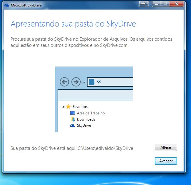 Escolha a pasta que será sincronizada com o SkyDrive (Foto: Reprodução/Edivaldo Brito)