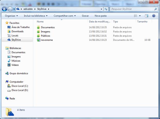 Window Explorer mostrando a pasta SkyDrive sincronizada com o serviço (Foto: Reprodução/Edivaldo Brito)
