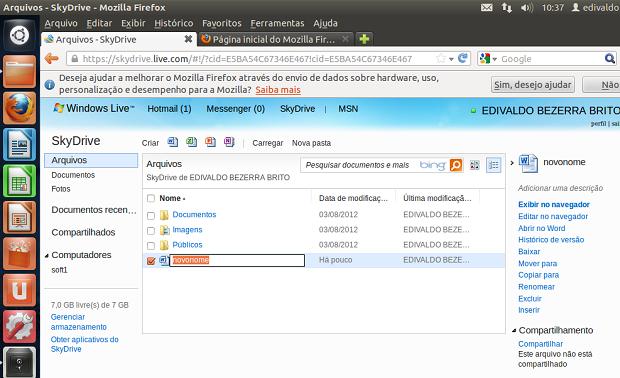 Renomeando um arquivo no SkyDrive no navegador (Foto: Reprodução/Edivaldo Brito)