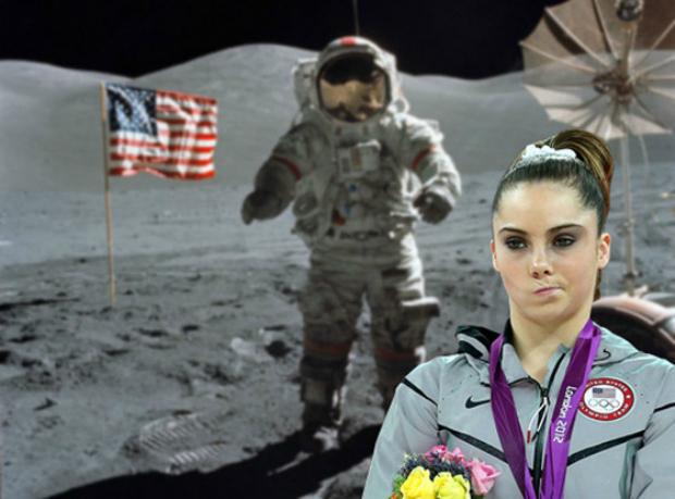 McKayla não-impressionada com a chegada do homem à lua (Foto: Reprodução/ Raquel Freire)