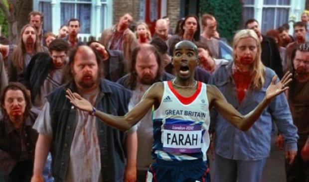 No meme, o britânico Mo Farah corre de zumbis (Foto: Reprodução/ Raquel Freire)