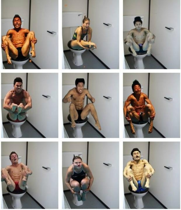 Montagem de atletas dos saltos ornamentais fazendo careta (Foto: Reprodução/ Raquel Freire)