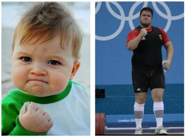 Comparação entre as poses de Sucess Kid e do atleta alemão (Foto: Reprodução/ Raquel Freire)