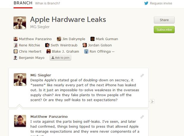 No Branch, usuário pode debater em mais de 140 caracteres um tema em específico (Foto: Reprodução)