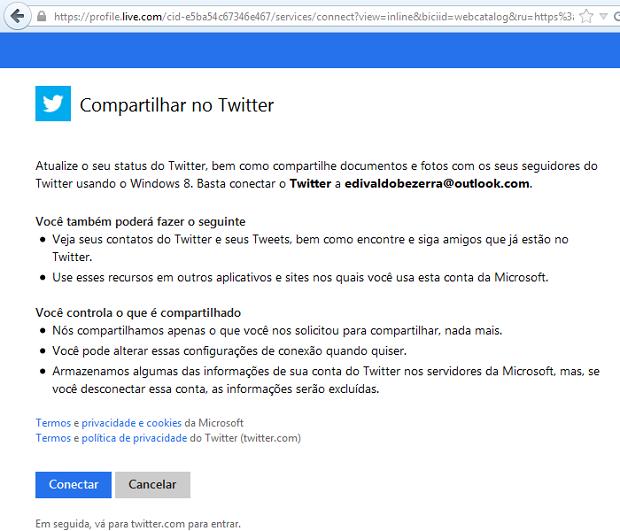 """Clique em """"Conectar"""" para continuar a conexão ao Twitter (Foto: Reprodução/Edivaldo Brito)"""