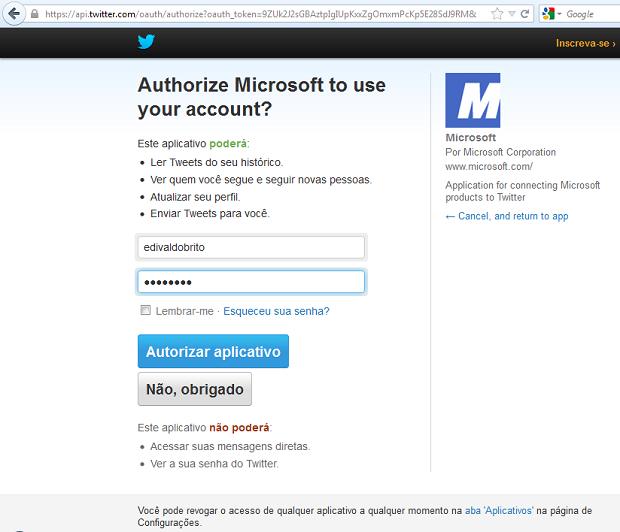 Autorizando o acesso à sua conta no Twitter (Foto: Reprodução/Edivaldo Brito)
