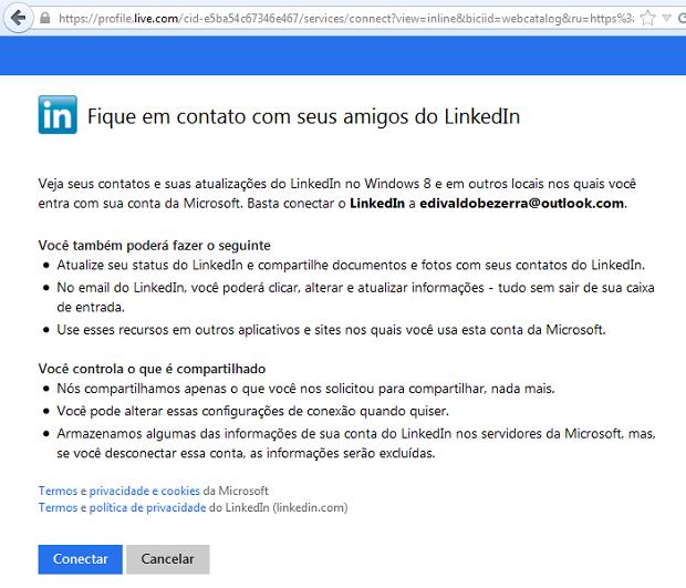 """Clique em """"Conectar"""" para continuar a conexão ao Linkedin (Foto: Reprodução/Edivaldo Brito)"""