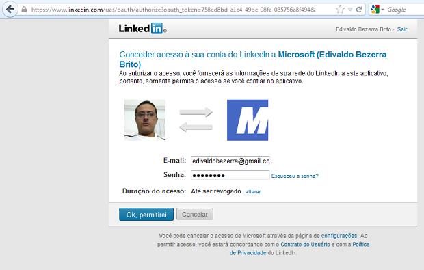 Autorizando o acesso à sua conta no Linkedin (Foto: Reprodução/Edivaldo Brito)